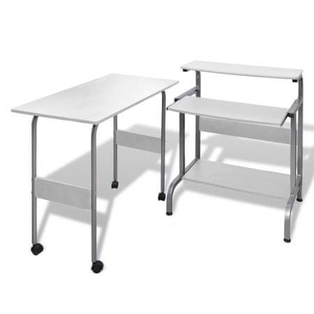 shumee Set pisalne in računalniške mize za pisarno Bele barve