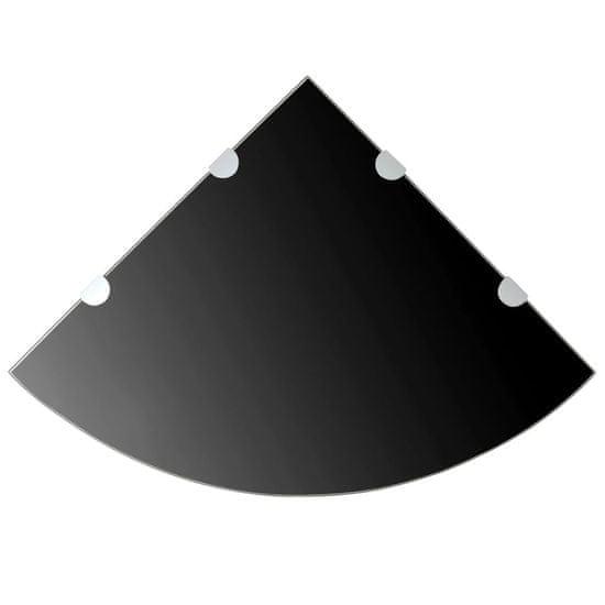 Sklenená rohová polička s chrómovanou podperou, čierna, 45x45 cm
