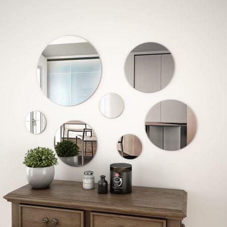 shumee 7-delni komplet stenskih ogledal okrogle oblike iz stekla
