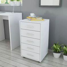 shumee Szafka biurowa z kółkami i 5 szufladami, w kolorze białym