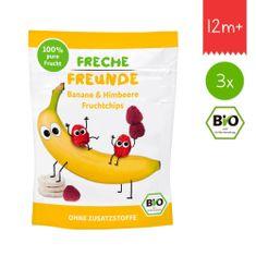 Freche Freunde BIO Ovocné chipsy - Banán a malina 3x16g
