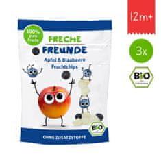 Freche Freunde BIO Ovocné chipsy - Jablko a borůvka 3x16g