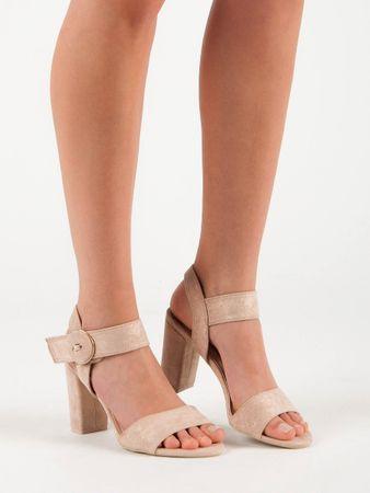 Vinceza Dámske sandále 50257 + Rúška biela, odtiene hnedej a béžovej, 36