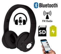 Platinet FH0915B naglavne Bluetooth slušalice, mikrofon, microSD, FM radio, AUX-in, sklopive