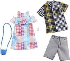 Mattel Barbie kétrészes ruhakészlet Barbie és Ken számára, kockás 72