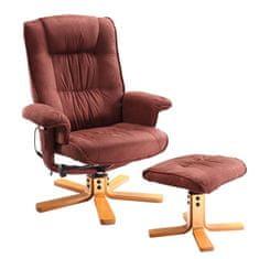 IDEA Relaxační masážní křeslo s podnožkou hnědé
