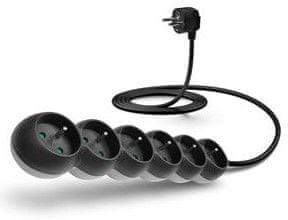 Connect IT Prodlužovací kabel 230 V, 6 zásuvek, 2 m, bez vypínače CI-1322, černý