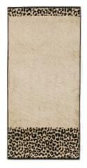 Möve ANIMAL beżowy ręcznik z kolorowym welurowym obramowaniem, 50 x 100 cm