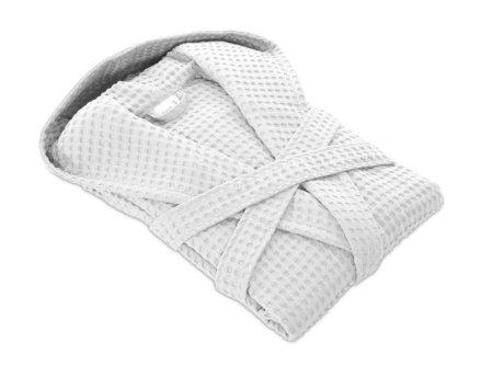 Möve Bawełniany szlafrok w waflowy wzór PIQUÉE z kapturem, biały, S