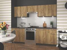Kuchyně COLSON 180/240 cm, korpus: antracit, dvířka: dub wotan