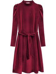 Amando Velúrové šaty s viazaním v páse 487ART bordové