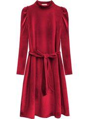 Amando Velúrové šaty s viazaním v páse 487ART červené