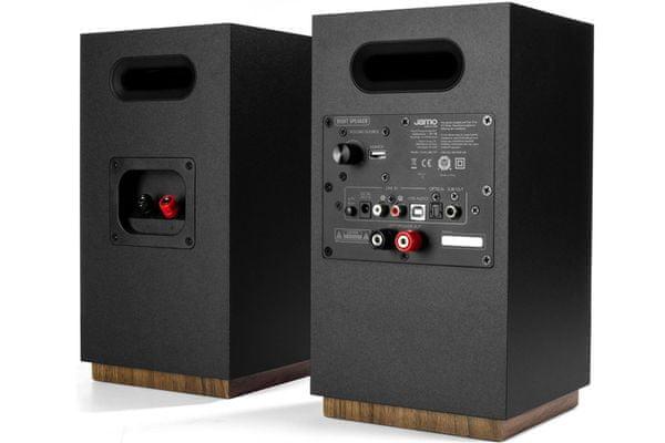 minimalistické aktivní reproduktory jamo s801pm se zesilovačem ve skandinávském stylu mdf deska dřevěné akcenty magnetická mřížka