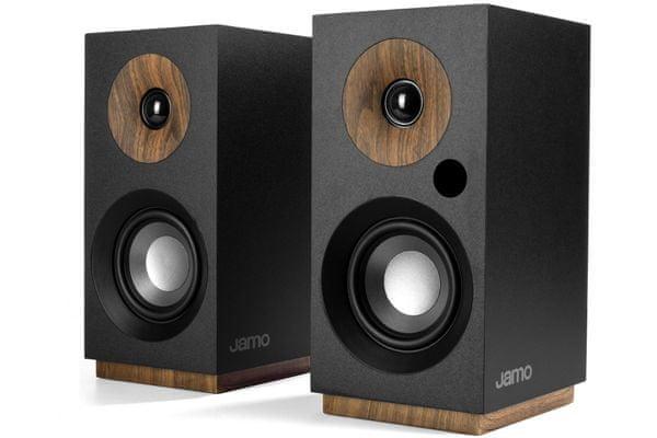 minimalistické reproduktory jamo s801pm ve skandinávském stylu mdf deska dřevěné akcenty magnetická mřížka