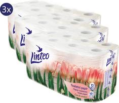 LINTEO Toaletní papír Jaro 3x 16 rolí, 3 vrstvý, bílý
