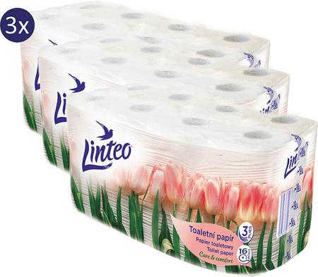 LINTEO WC-papír Tavasz Pack 3 x 16 tekercs, 3 rétegű, fehér