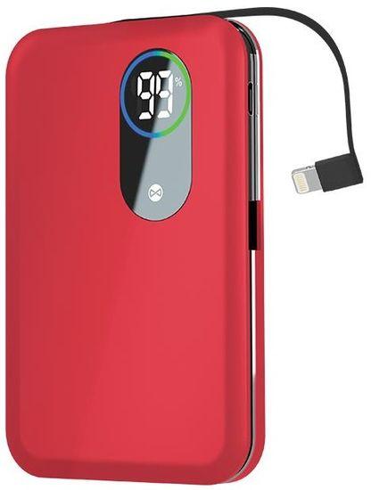 Forever Power banka Core 5000 mAh s rychlonabíjením a lightning káblom, červená GSM093724