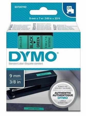Dymo D1, 9mm/7m, trak za tiskanje nalepk, črno-zelen (40919)