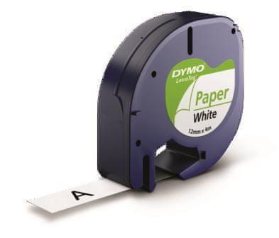 Dymo Letratag, 12mm/4m, trak za tiskanje nalepk, bel (91200)