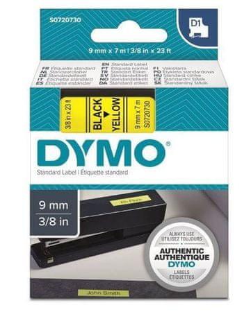 Dymo D1, 9mm/7m, trak za tiskanje nalepk, črno-rumen (40918)