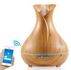 """GOLDSUN Aroma diffúzor """"WiFi - Tulip 400ml"""" légfrissítő és párásító - Világos fa"""