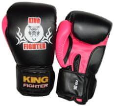 King Fighter Boxerské rukavice BASIC černá/růžová váha/velikost: 10