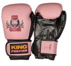 King Fighter Boxerské rukavice BASIC růžová/černá Boxerské rukavice: váha: 10