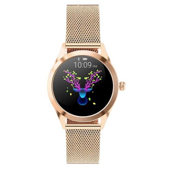 NEOGO SmartWatch Glam, dámské chytré hodinky, zlaté/kovové
