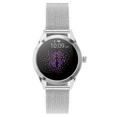 NEOGO SmartWatch Glam, dámské chytré hodinky, stříbrné/kovové