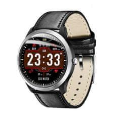 NEOGO SmartWatch NX58, smart hodinky, čierne/kožené