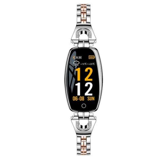 NEOGO SmartWatch Heart 8, dámske smart hodinky, strieborné