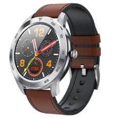 NEOGO SmartWatch DR98, smart hodinky, strieborné/hnedé kožené