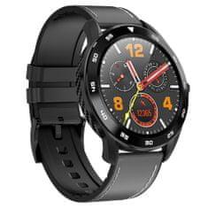 NEOGO SmartWatch DR98, smart hodinky, čierne/čierne kožené