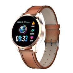 NEOGO SmartWatch QS9, chytré hodinky, hnědé/kožené