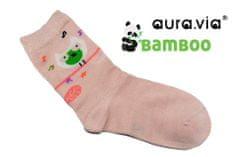 Dievčenské detské bambusové ponožky - Sovičky - Marhuľová