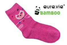 Dievčenské detské bambusové ponožky - Sovičky - fuchsiová