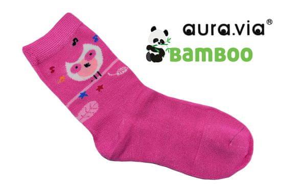 Dievčenské detské bambusové ponožky - Sovičky - fuchsiová - 28–31