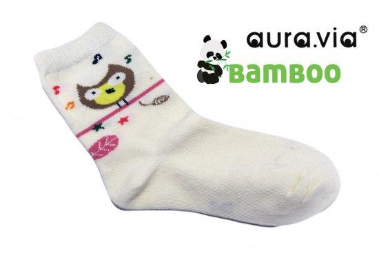 Dievčenské detské bambusové ponožky - Sovičky - Biela - 28–31