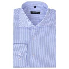 Męska koszula biznesowa biała w błękitne paski rozmiar L