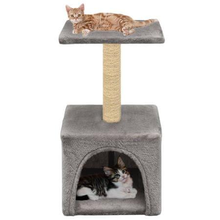 shumee szürke macskabútor szizál kaparófával 55 cm