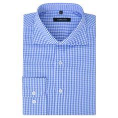 Męska koszula biznesowa biała w błękitną kratkę rozmiar S