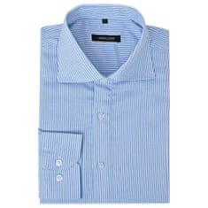 Męska koszula biznesowa biała w błękitne paski rozmiar S