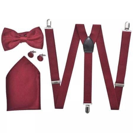 shumee Férfi szmoking kiegészítő- nadrágtartó & nyakkendő szett burgundi szín
