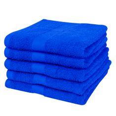 Ręczniki, 5 szt., bawełna, 500 g/m², 50x100 cm, szafirowe