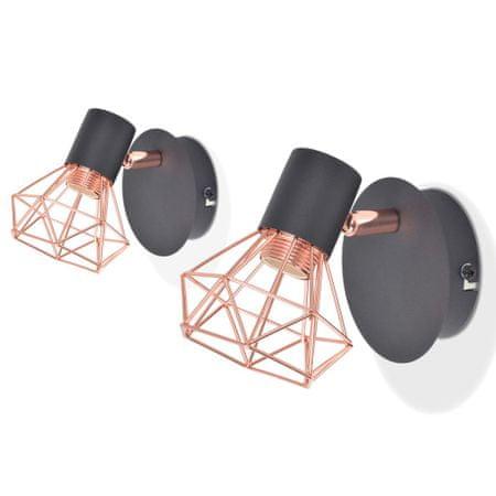 shumee Stenska svetilka 2 kosa E14 črne in bakrene barve