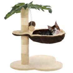 Škrabadlo pre mačky so sisalovým stĺpikom 50 cm, béžové a hnedé