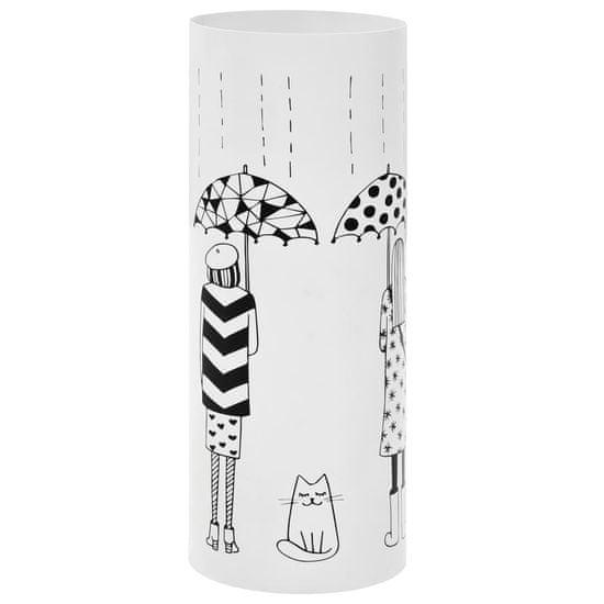 Stojan na dáždniky, motív so ženami oceľový biely
