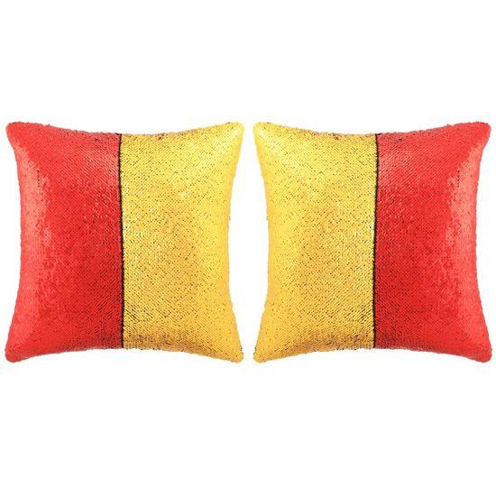 Sada vankúšov s flitrami 2 ks 45x45 cm červená a zlatá
