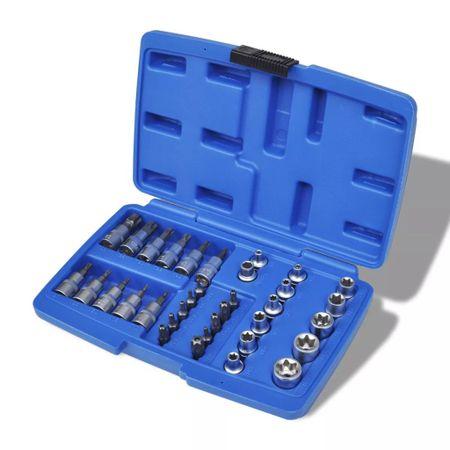 shumee Komplet torx in zvezdastih nasadnih ključev 34 kosov v kovčku