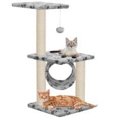 Škrabadlo pre mačky so sisalovými stĺpikmi 65cm, sivé s labkami